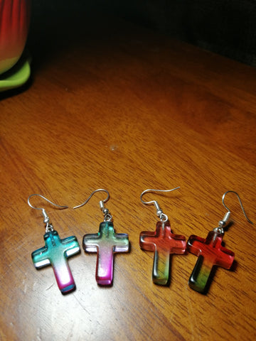SALE: Rainbow Glass Cross Earrings