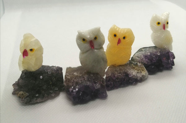 SALE: Mini Owl on Amethyst Carving