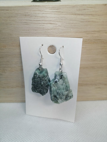 Rough Emerald Crystal Earrings