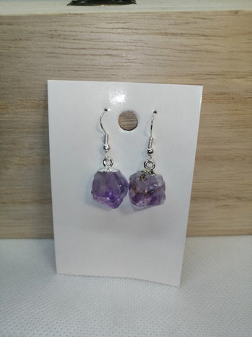 SALE: Rough Amethyst Earrings