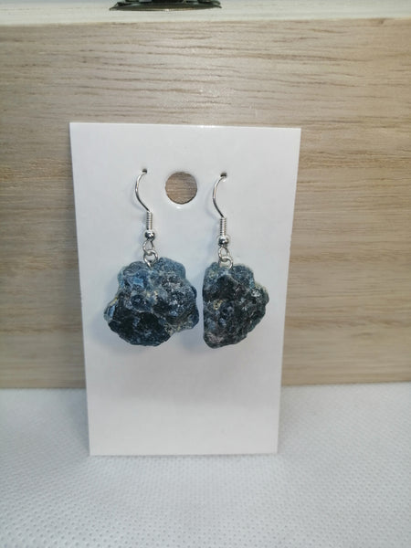 SALE: Rough Blue Apatite Crystal Earrings