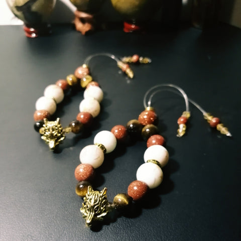 SALE: Goldstone Wolf Head Empathy Beads
