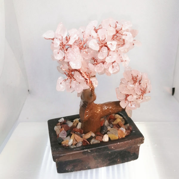 Rose Quartz Bonsai Tree on Soapstone Base Decor