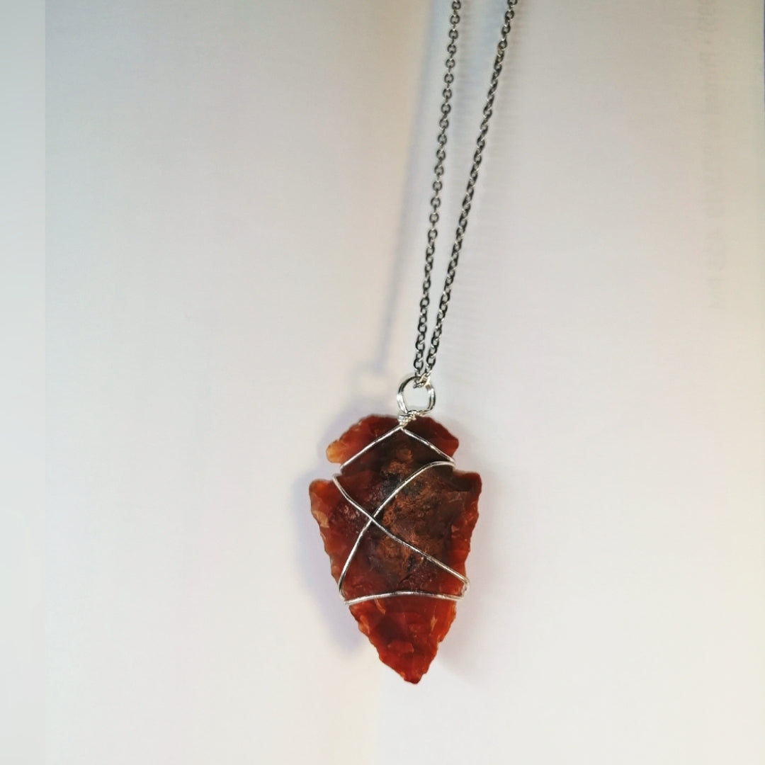 NEW!! Carnelian Arrowhead Wire Wrapped Pendant