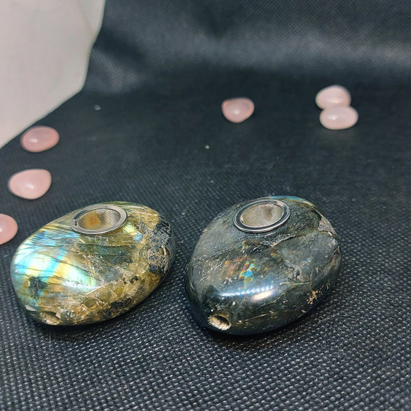 NEW!! Labradorite Stone Herb Pipe Decor