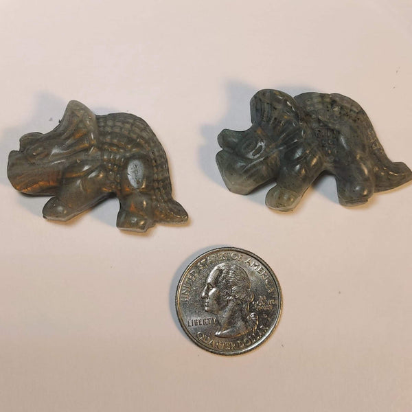 NEW!! Labradorite Flat Back Pocket Dinosaur Carving