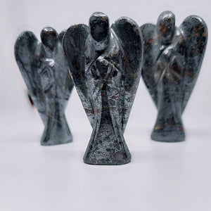 NEW!! Hematite Crystal Angel Carving