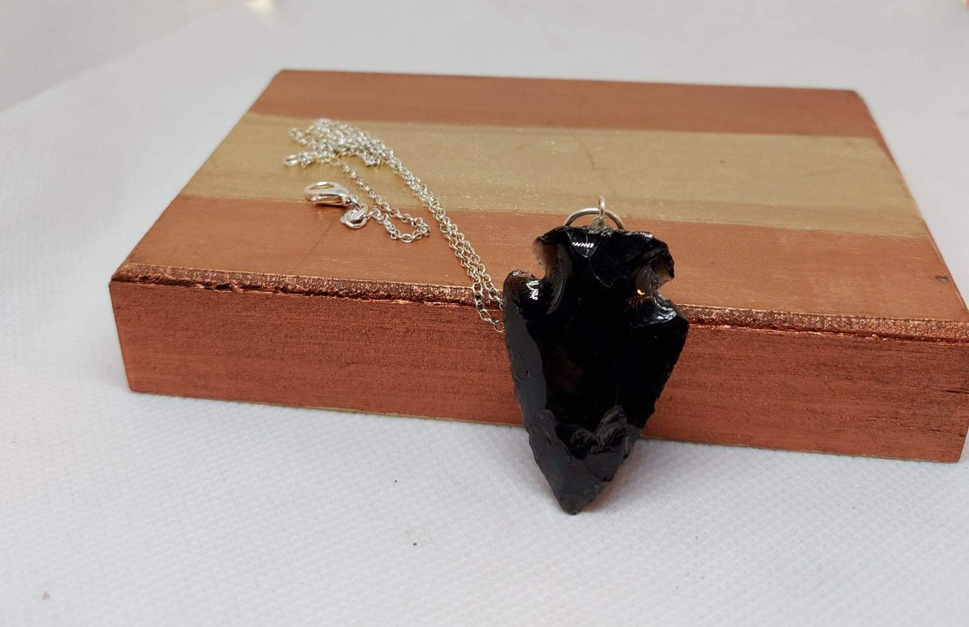 NEW!! Black Obsidian Arrowhead Pendant