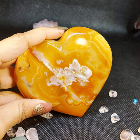 NEW!! Carnelian Crystal Geode Heart Carving
