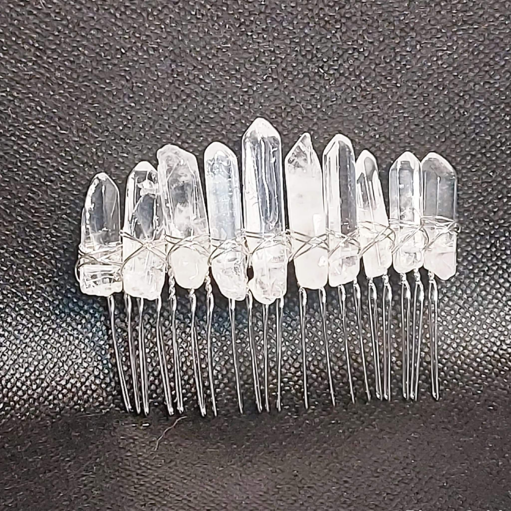 NEW!! Clear Quartz Crystal Hair Comb