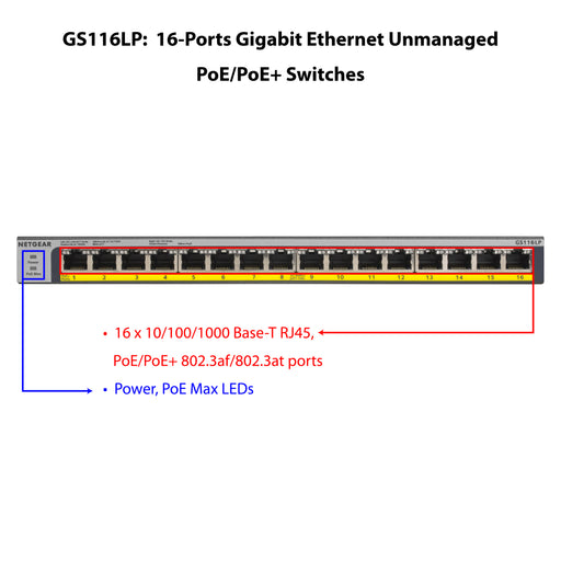 Netgear GS116LP - 16 Port Gigabit PoE+ Unmanaged Switch for IP Camera (Warranty 10 Years)