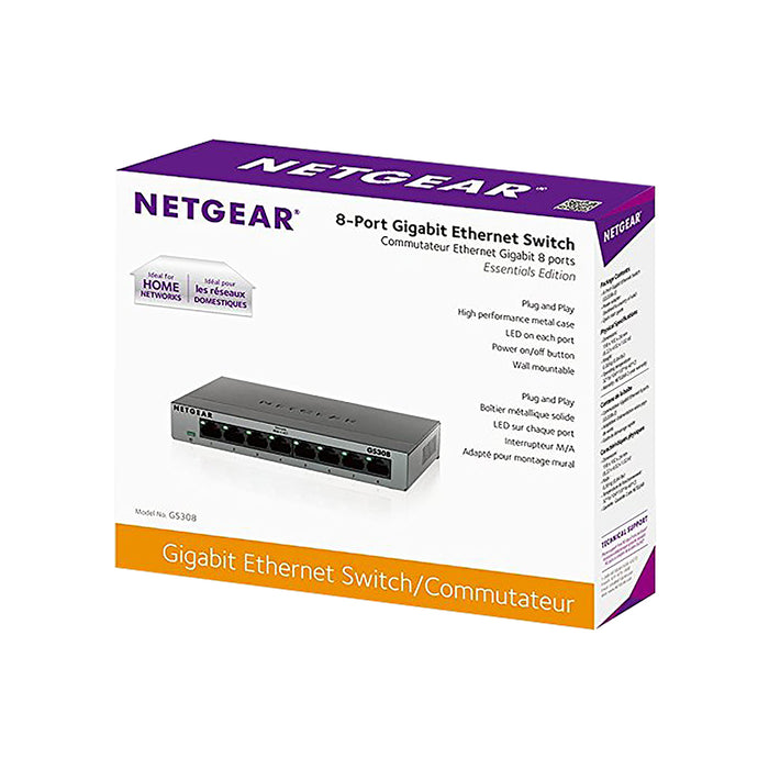 Netgear GS308 - 8 Port Gigabit Ethernet Unmanaged Switch Garansi Resmi (Warranty 1 Year)