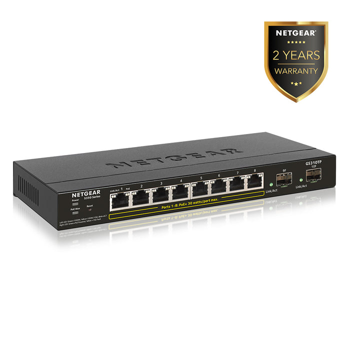 Netgear GS310TP - 8 Port Gigabit Ethernet Smart Managed Pro Switch L2 (Warranty 5 Years)