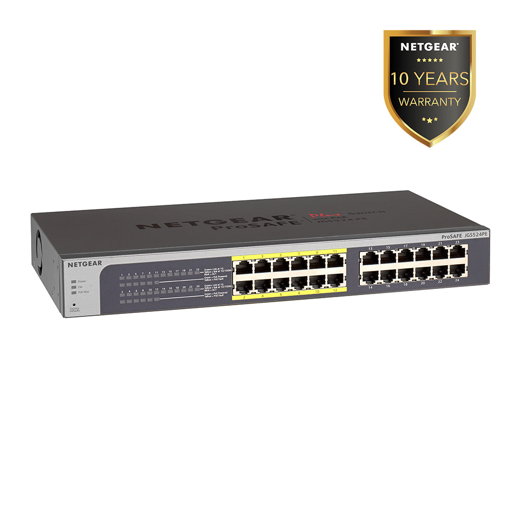 Netgear JGS524PE - 24 Port Gigabit PoE Smart Managed Plus Switch (Warranty 10 Years)