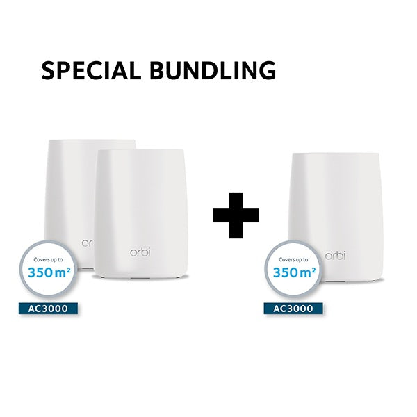 SPECIAL BUNDLING: Netgear RBK50 Orbi Tri Band WiFi Mesh System AC3000 + Netgear Orbi RBS50 Tri Band WiFi Add on Satellite - AC3000 Mesh Extender (Total: 1 Router 2 Satelit)