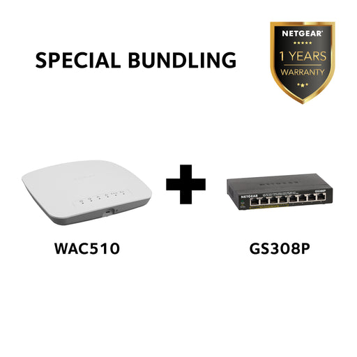 SPECIAL BUNDLING: Netgear WAC510 - Insight Managed Smart Cloud Wireless Access Point AC1200 + Netgear GS308P - 8 Port Gigabit PoE Unmanaged Switch