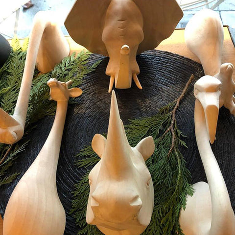 Wooden animal heads