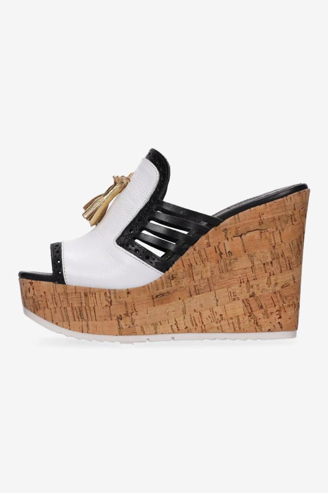 Nyla Wedge White & Black
