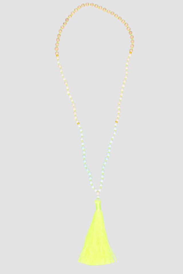 Tassel Necklace Wood/Yellow