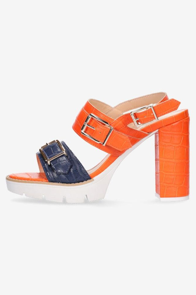 Heidi Heel Orange/Navy Croc