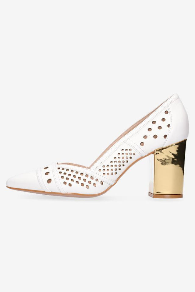 Shelby Mid Heel White Gold