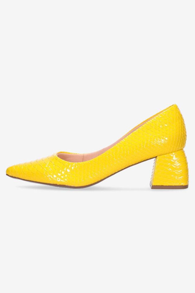 Grace Yellow Croc Heel