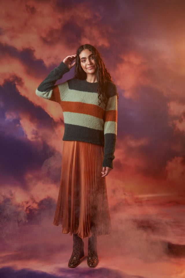 Lexis Pleated Skirt Rust