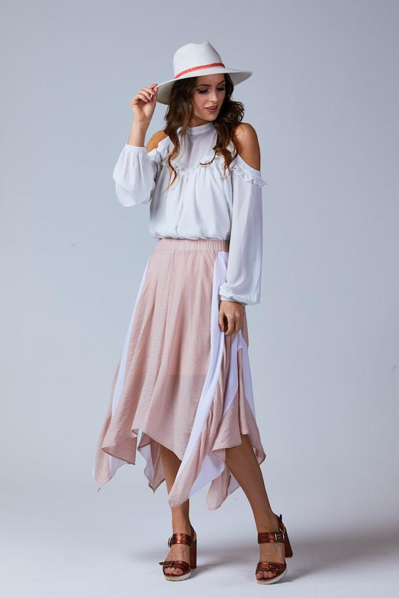 FRANKIE ELASTICATED HANDKERCHIEF SKIRT BLUSH