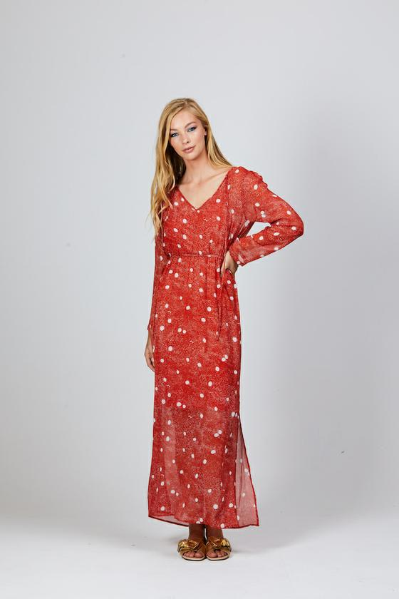 JAMIE MAXI DRESS RUST SPECKLE