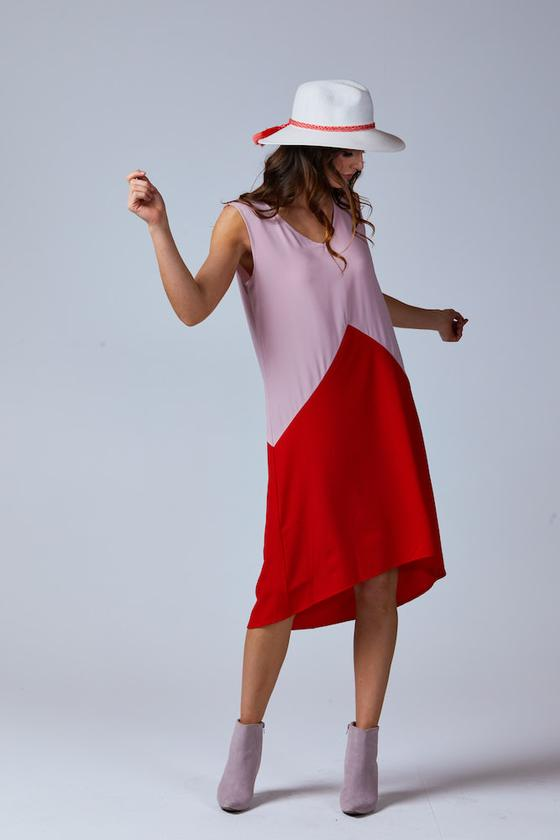 HAILEE TWO TONE DRESS BLUSH/RED