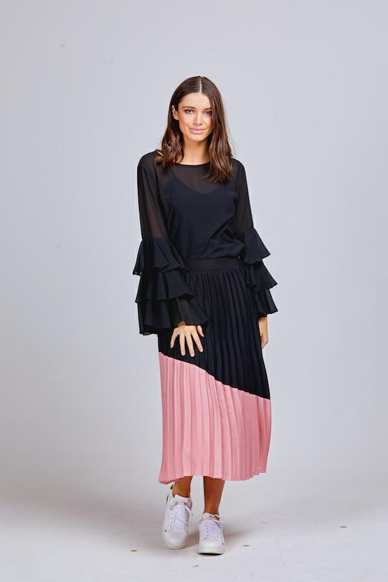 MILA PLEATED CONTRAST SKIRT BLUCH/BLACK
