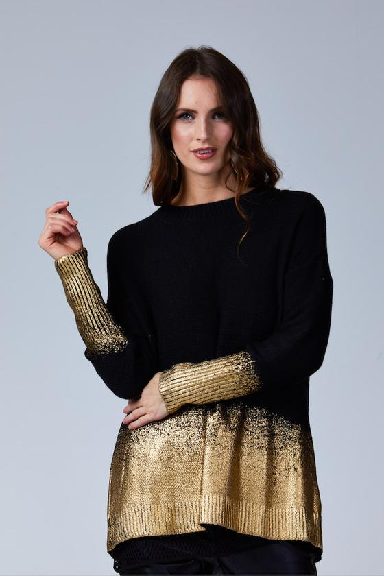 TONI DIPPED GOLD KNIT BLACK