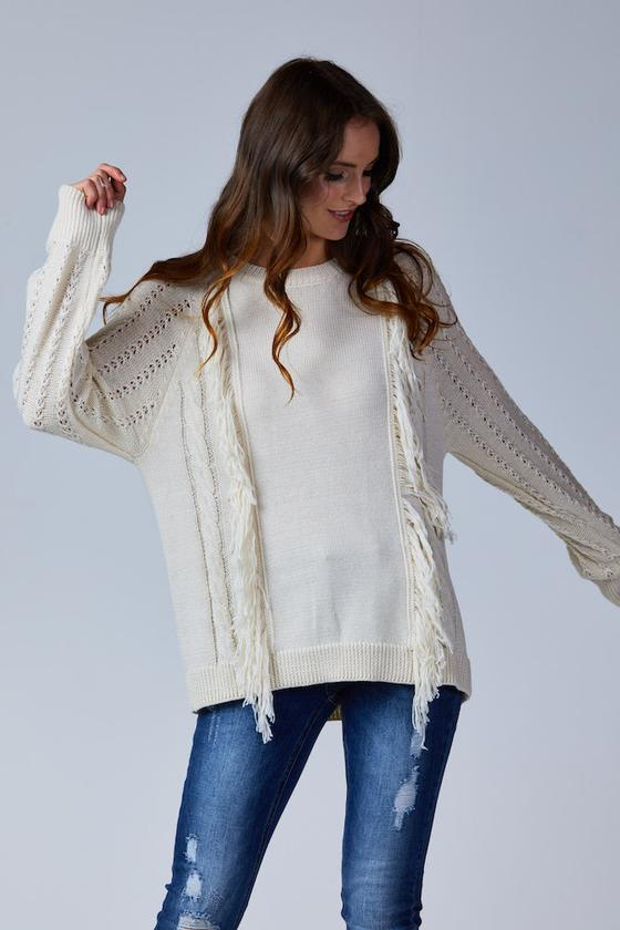 MEADOW FRINGE KNIT CREAM