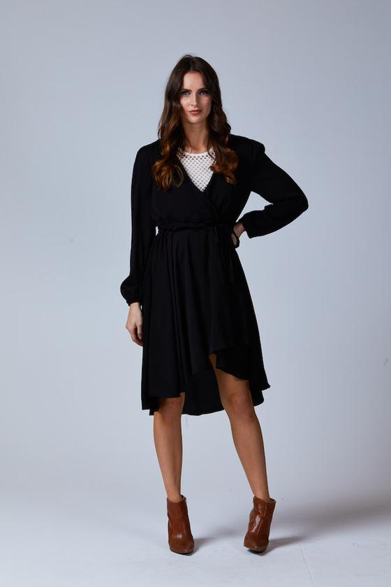 LANA ASSYMETRIC HEM DRESS BLACK