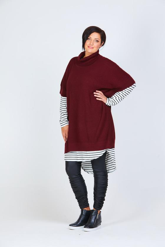 Roll Neck Poncho - plum