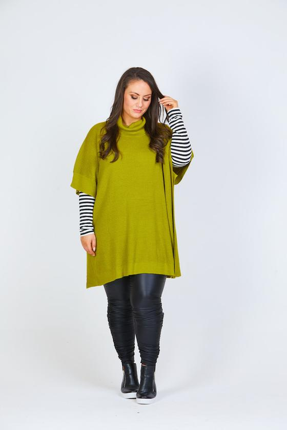 Roll Neck Poncho - Chartreuse