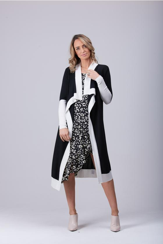 Pyper Waterfall Cardi Black/Off White