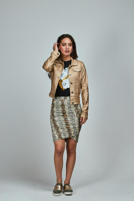 Snakeskin Meow Skirt Long