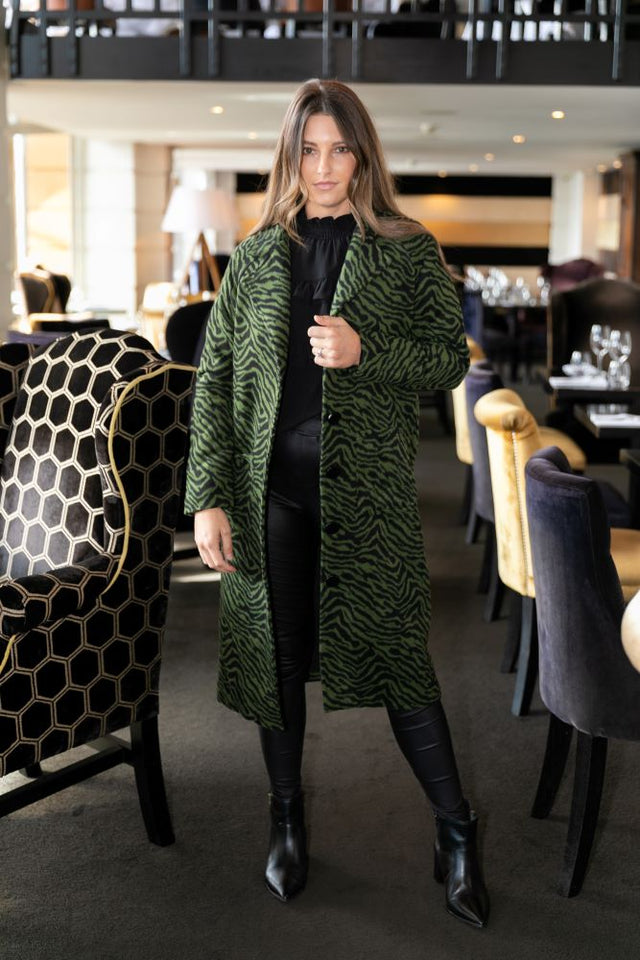 Suri Green Zebra Coat
