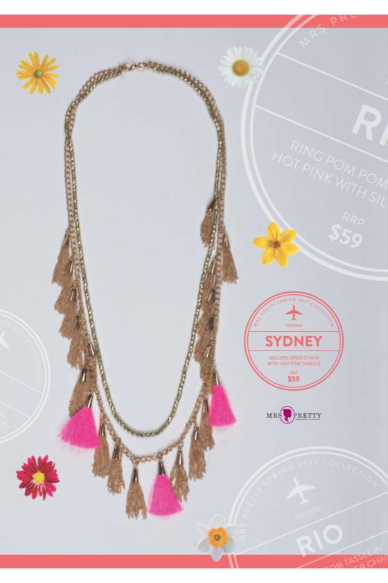 Sydney Golden - Hot Pink Tassel