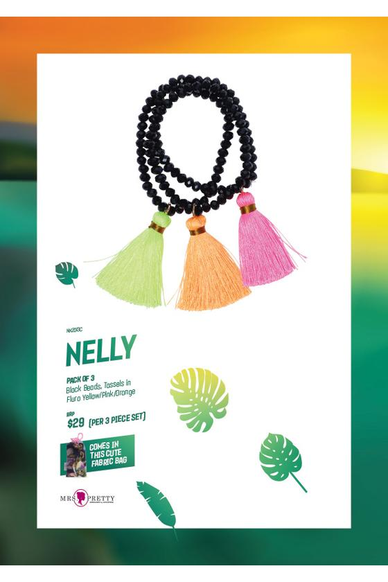 Nelly Bracelets Black - FluroYellow/Pink/ Orange (3pk)