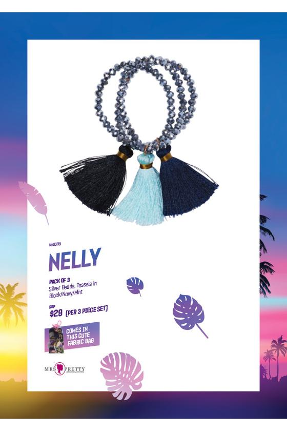 Nelly Bracelets Silver - Black/Navy/Mint (3pk)