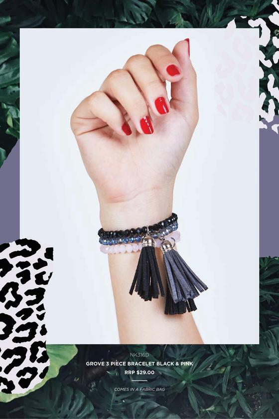 Grove 3 piece bracelet Black & Pink