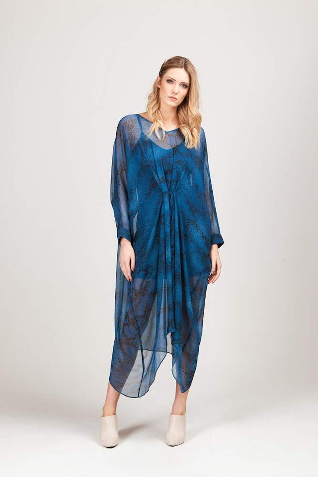 ADESSA BLUE SNAKE SKIN DRESS