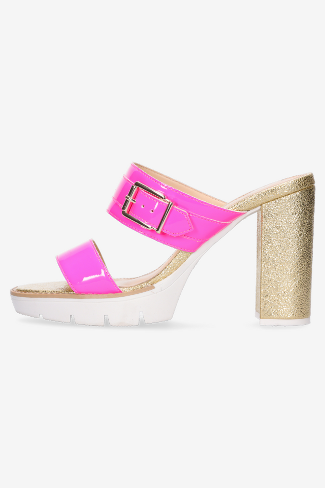 Alexis Fluro Pink & Gold Mule
