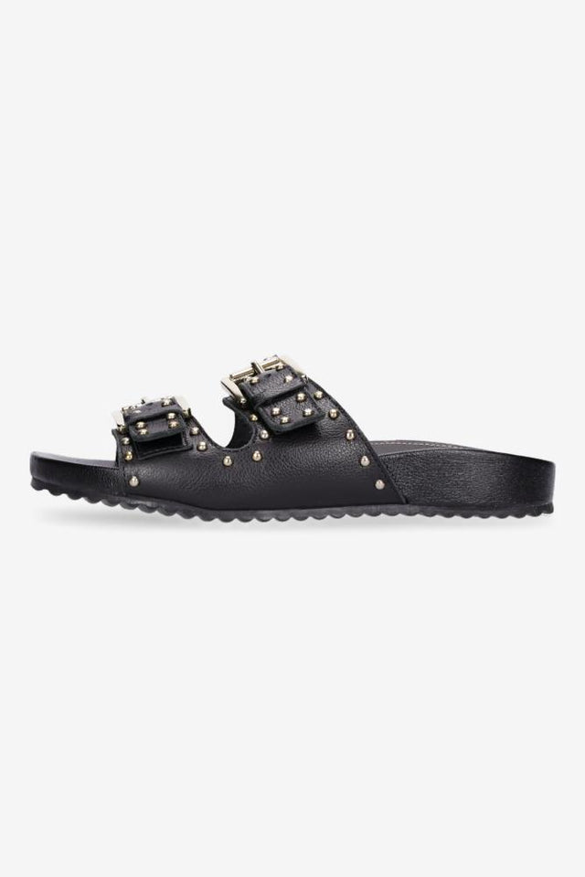 Camilla Sandal Black with Gold Studs