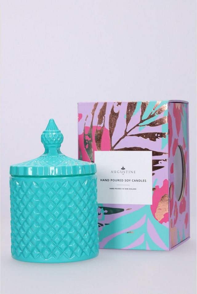 Small Teal Dragon Fruit & Zest Candle