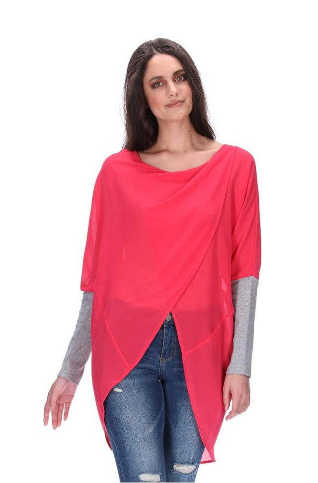 Faith Cross Over Top Cerise Pink