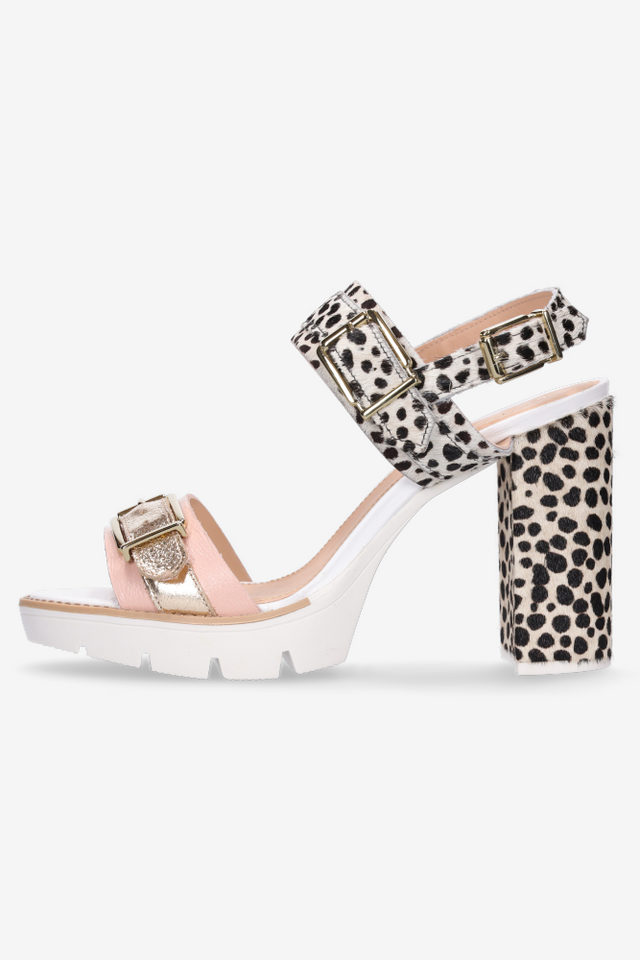 Heidi Heel Snow Leopard Blush Gold