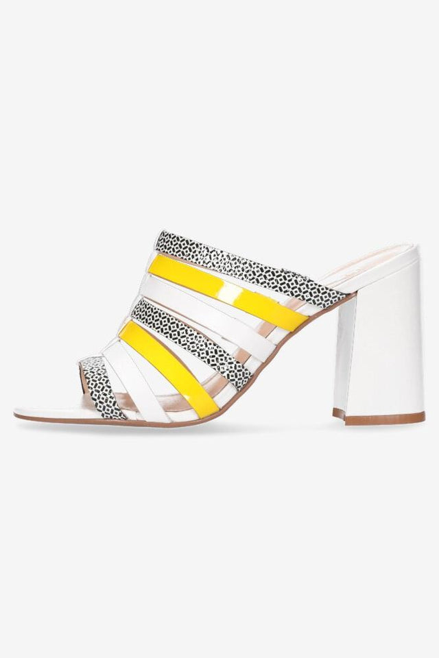 Harper Heel White/Yellow/Print